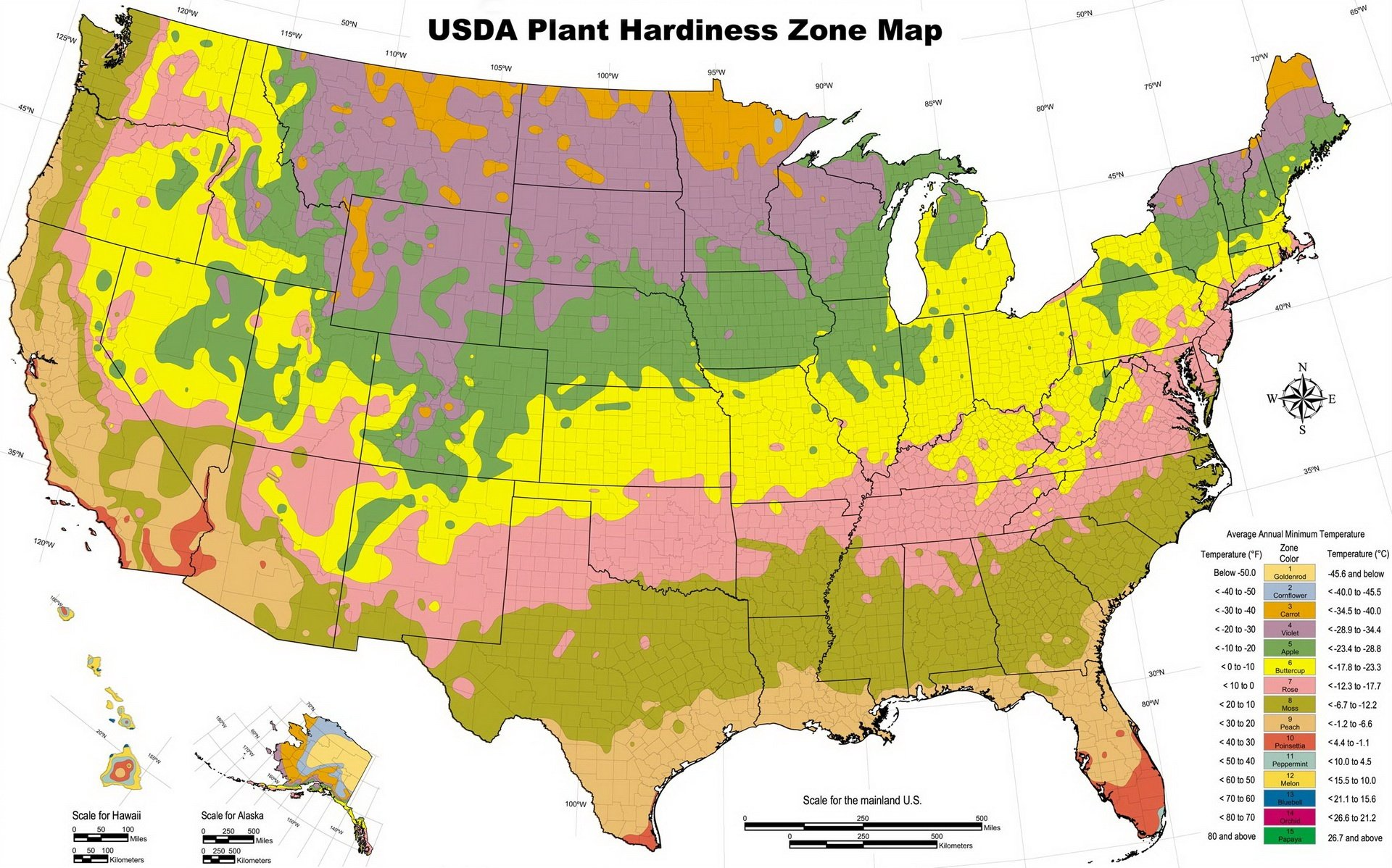 Map Downloads Usda Plant Hardiness Zone Map Usda Hardiness Zone Map Of Growing Zones In