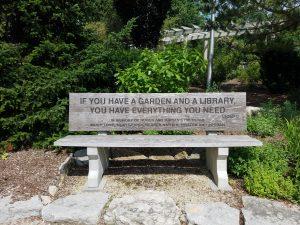 Garden bench Rotary Public Gardens Janesville WI by Flower Chick
