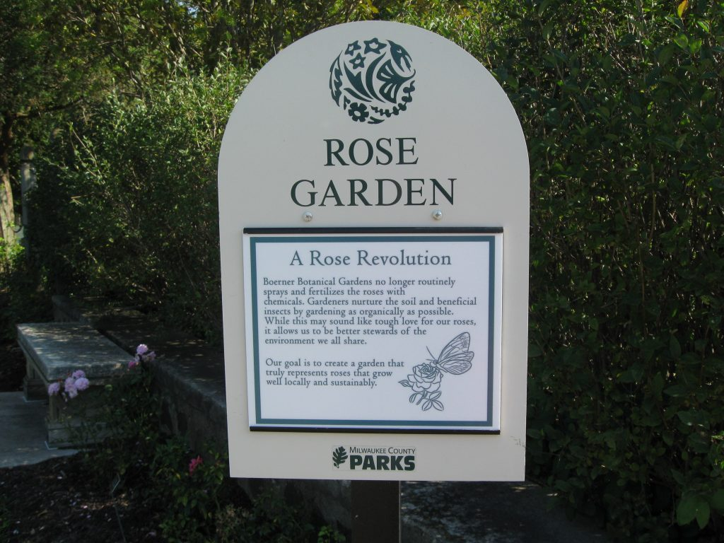 Rose Garden sign at Boerner Botanical Gardens by FlowerChick.com