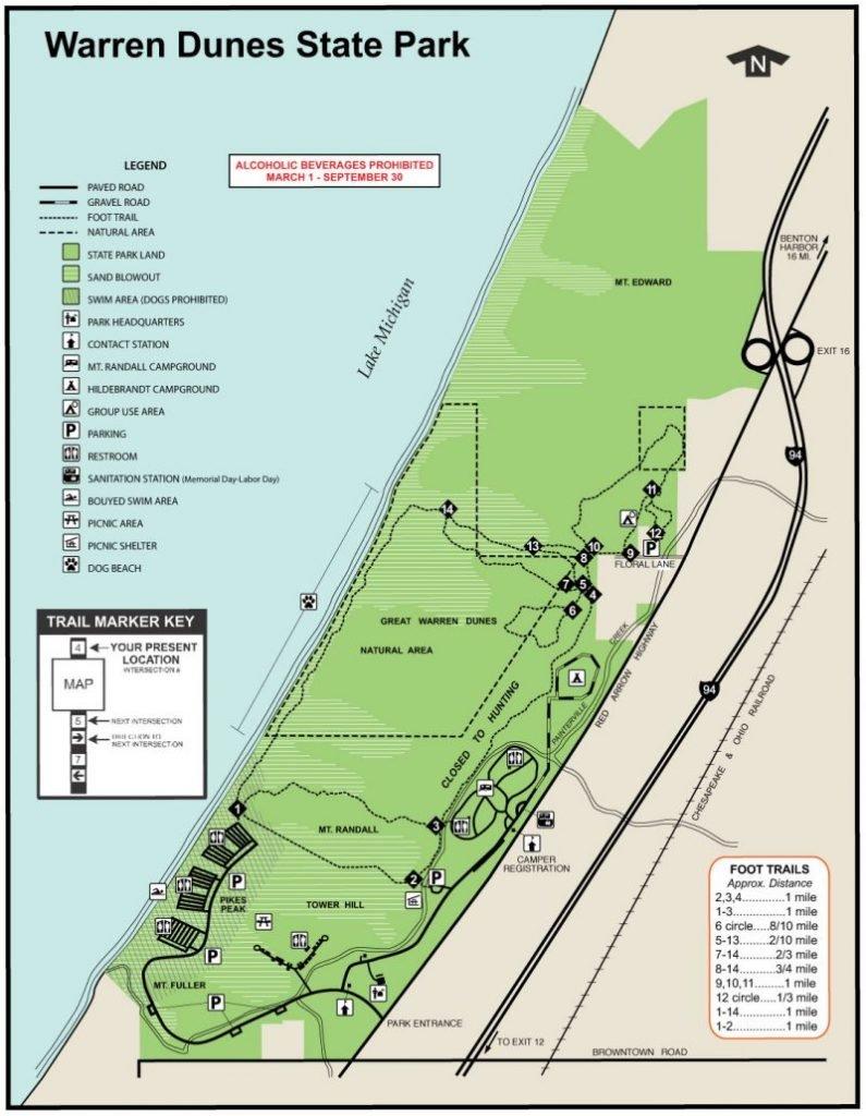 Warren Dunes Map FlowerChick.com