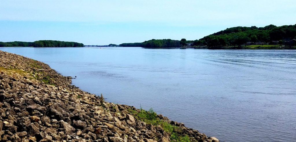 Mississipi River View from Clinton, Iowa by FlowerChick.com