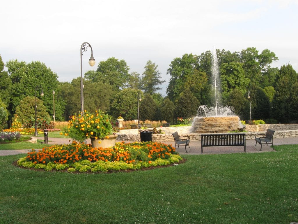 The Stone Fountain and Old World Gardens at Vander Veer Park by FlowerChick.com