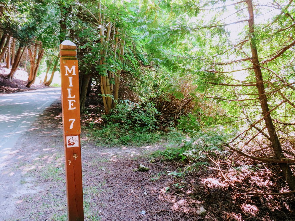 Mile Marker 7 on Mackinac Island Perimeter Tour by FlowerChick.com